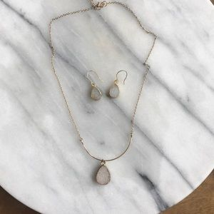 White Druzy Necklace and Earrings
